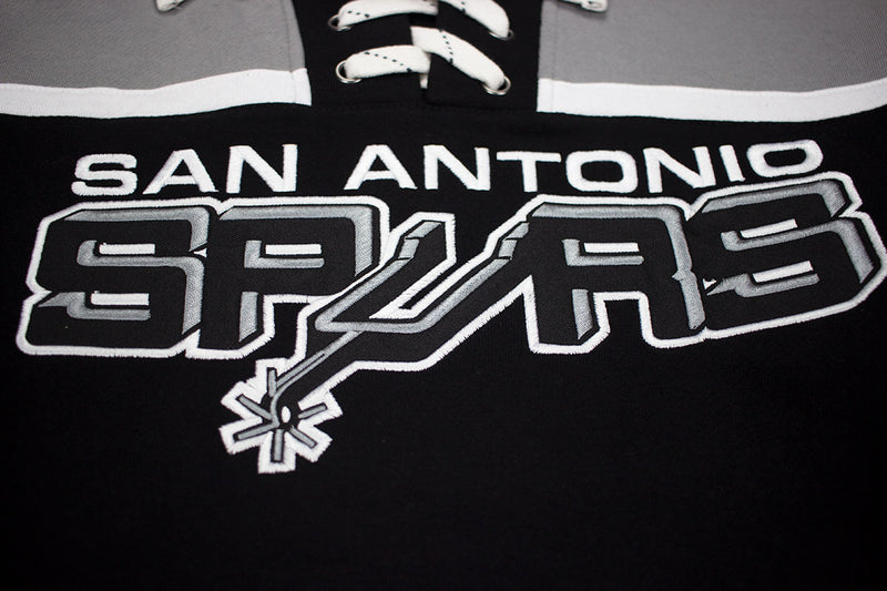 Mitchell & Ness San Antonio Spurs Pullover Hockey Fleece Hoodie Black & Grey Patch