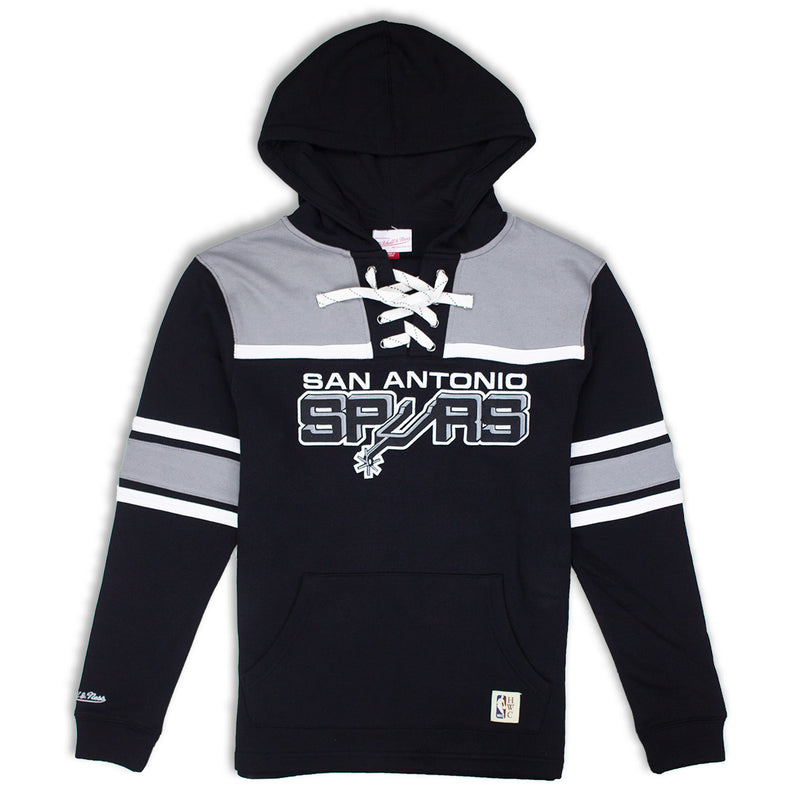 Mitchell & Ness San Antonio Spurs Pullover Hockey Fleece Hoodie Black & Grey