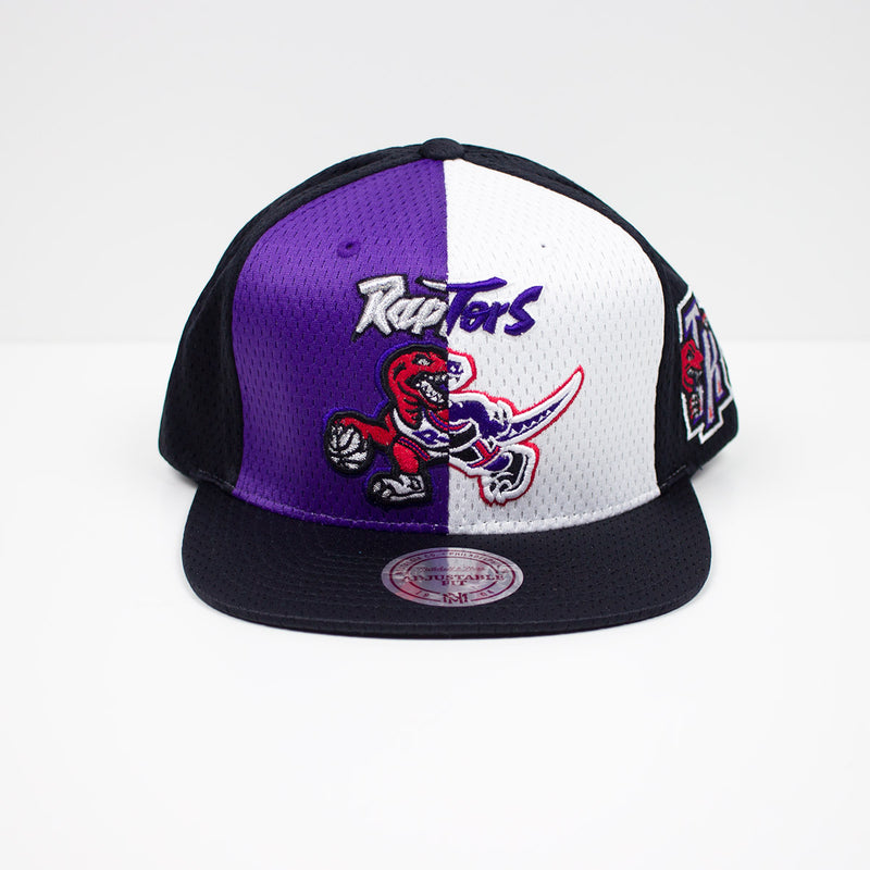 Mitchell & Ness Toronto Raptors Division Mesh Snapback Hat Purple & White Front