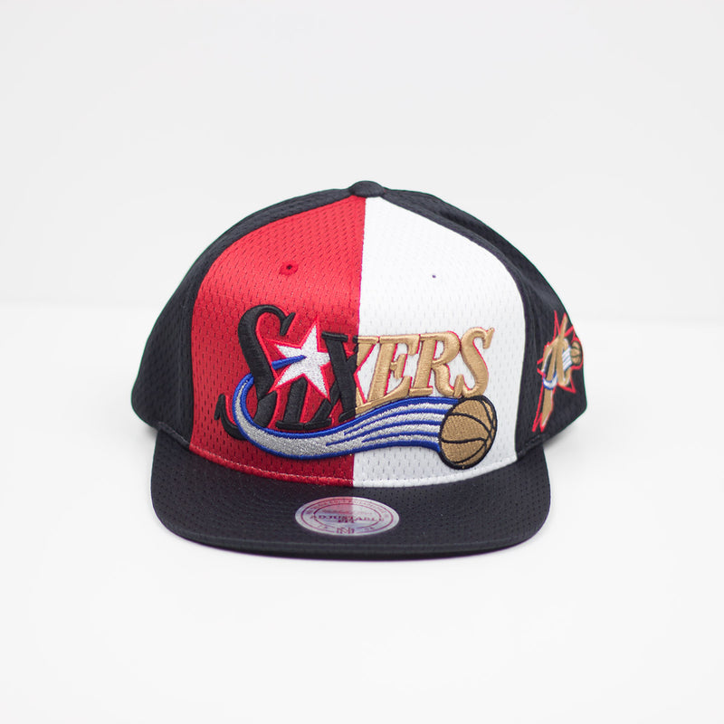 Mitchell & Ness Philadephia 76ers Division Mesh Snapback Hat Red / White Front