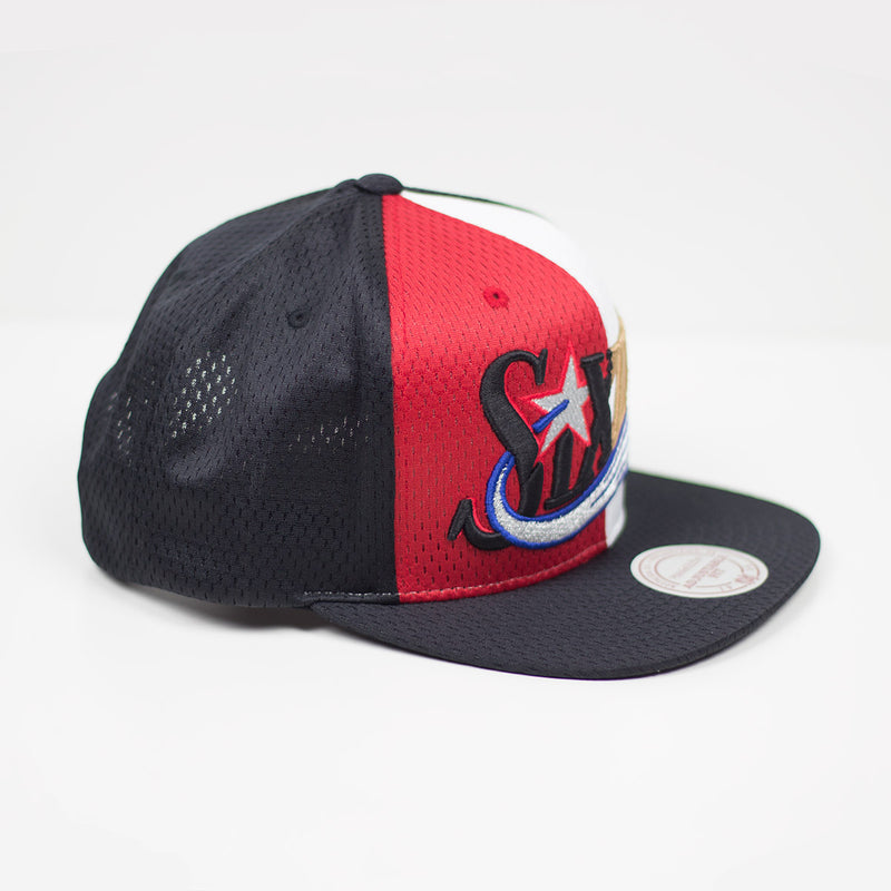 Mitchell & Ness Philadephia 76ers Division Mesh Snapback Hat Red / White