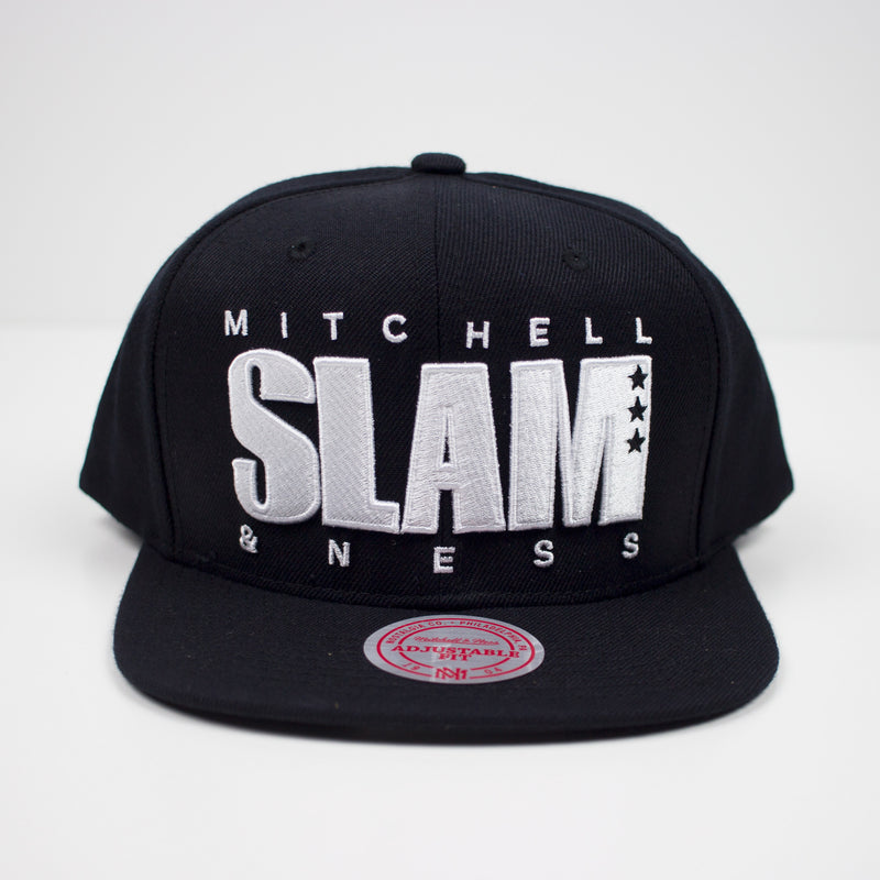 Mitchell & Ness SLAM Snapback Hat Black Front