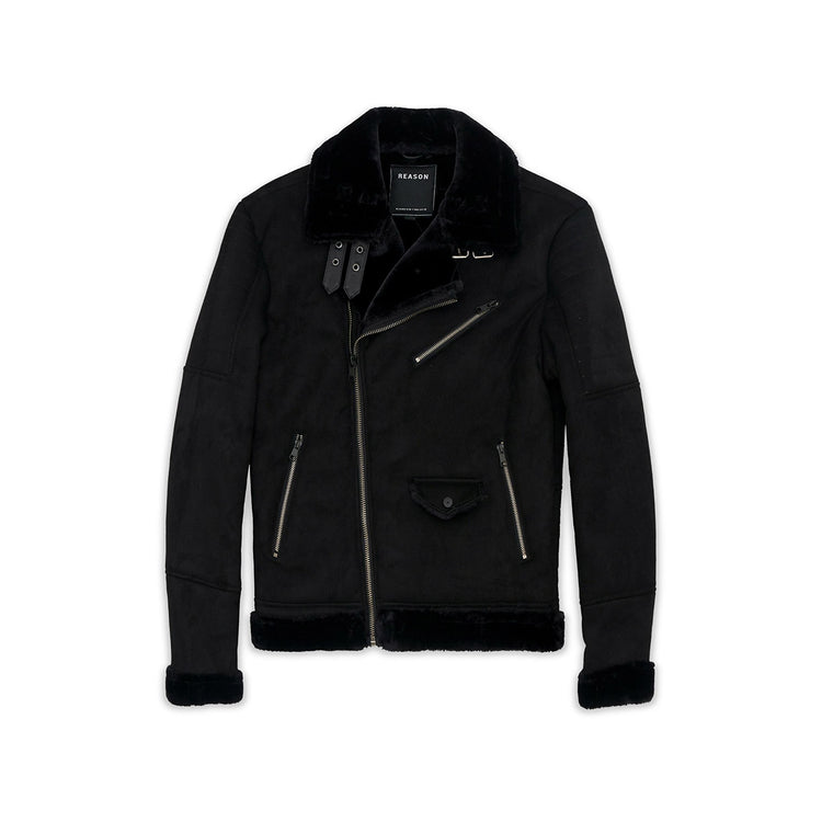 Reason Coalation Suede Shearling Moto Black