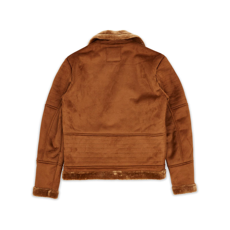 Reason Coalition Suede Shearling Moto Jacket Brown Back