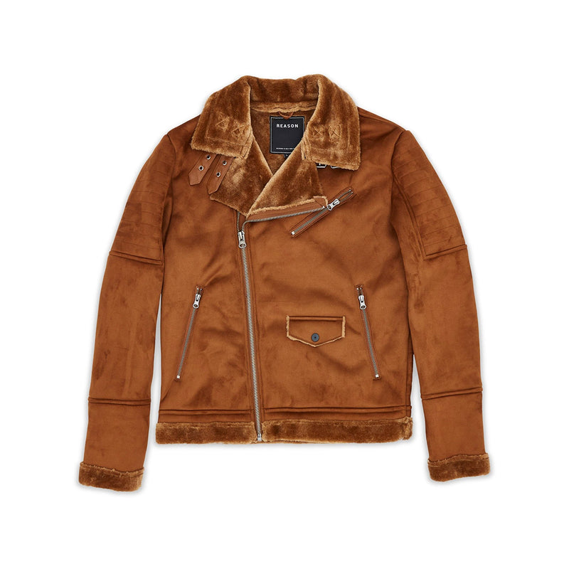Reason Coalition Suede Shearling Moto Jacket Brown