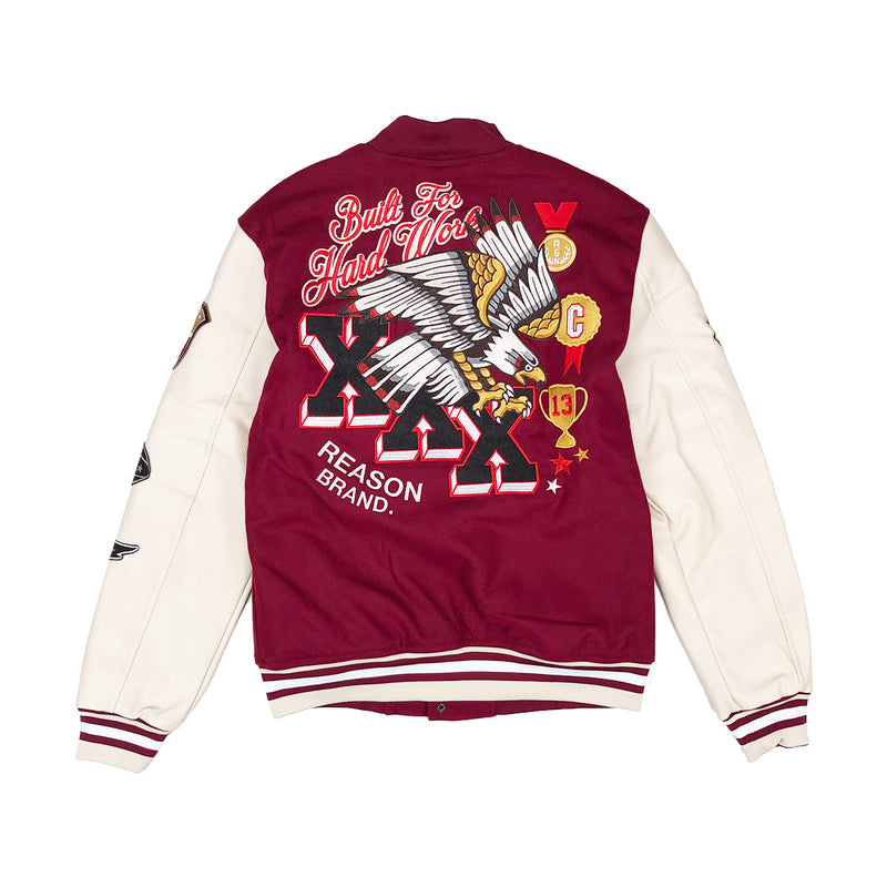 Reason Hard Work Varsity Jacket Burgundy Back