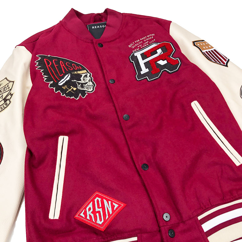 Reason Hard Work Varsity Jacket Burgundy Front