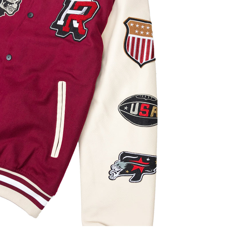 Reason Hard Work Varsity Jacket Burgundy Left