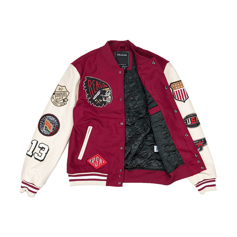 Reason Hard Work Varsity Jacket Burgundy Opened