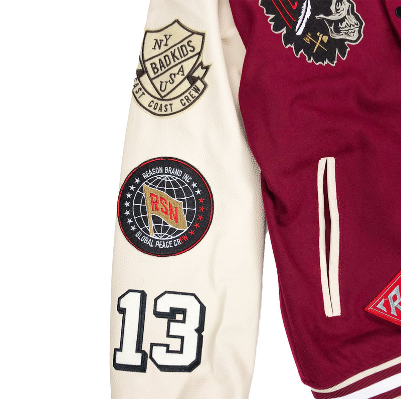 Reason Hard Work Varsity Jacket Burgundy Right