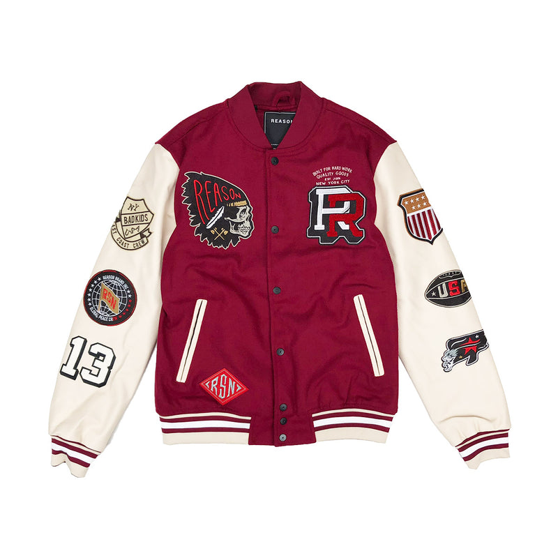 Reason Hard Work Varsity Jacket Burgundy