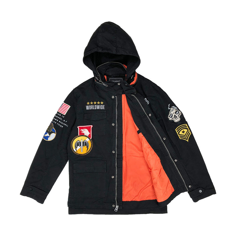 Reason Generals M-65 Military Jacket Black Opened