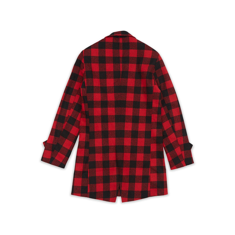 Reason Plaid Overcoat Black & Red Back