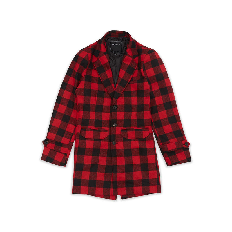 Reason Plaid Overcoat Black & Red