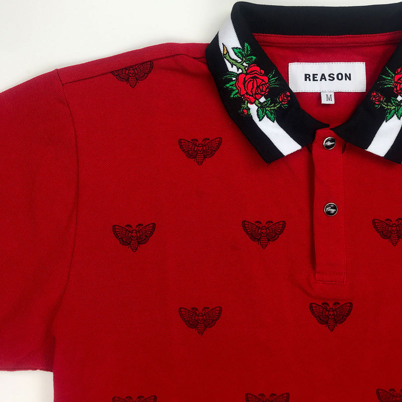Reason Regal Print Polo Red Top Right