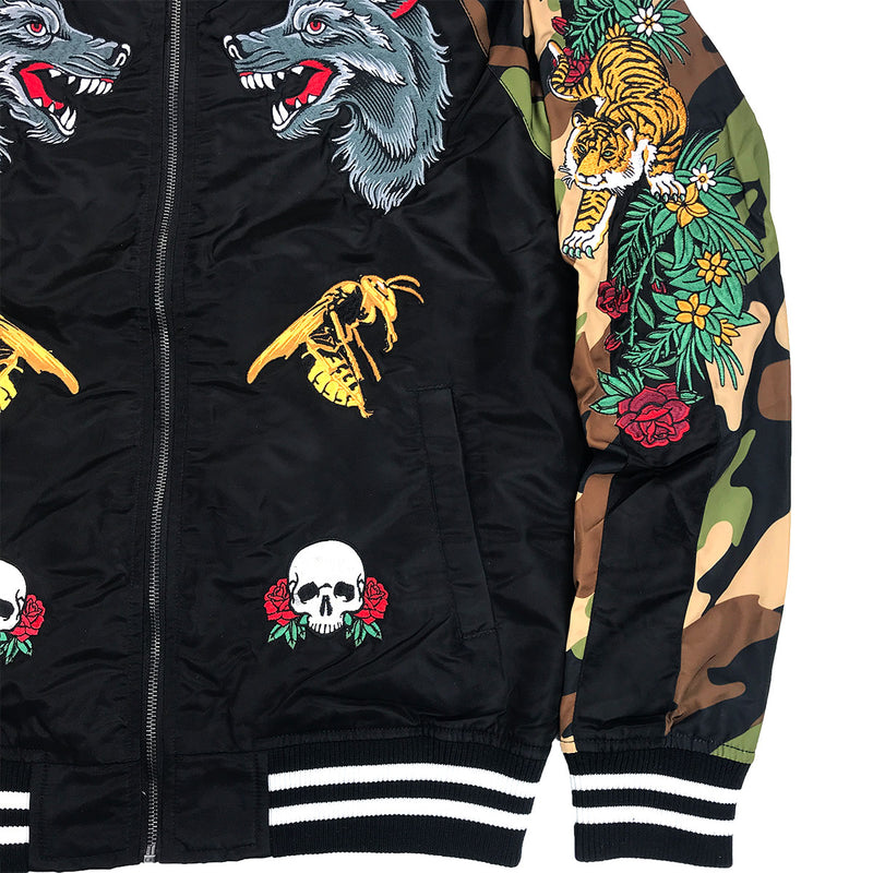 Reason Skull & Roses Bomber Black Lower Left