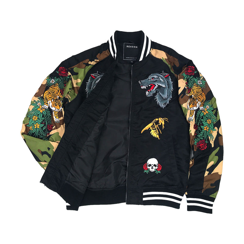 Reason Skull & Roses Bomber Black Opened