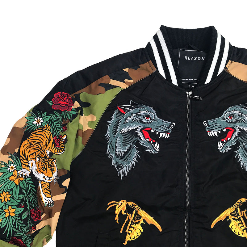 Reason Skull & Roses Bomber Black Upper Right
