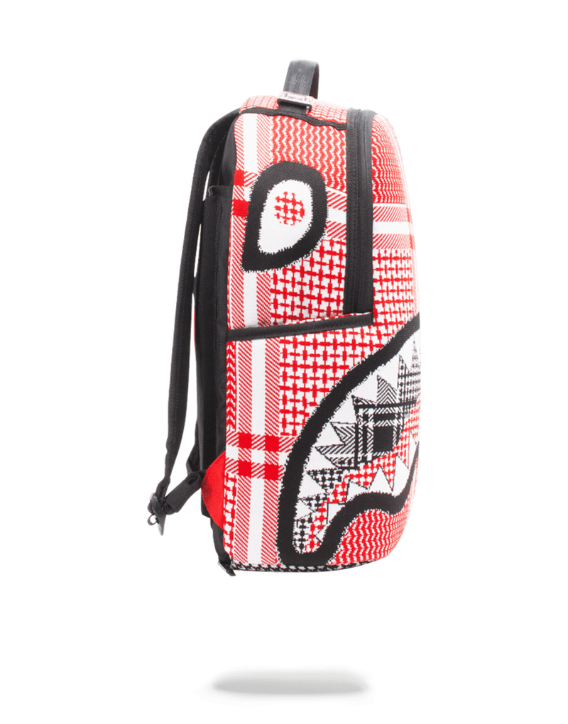Sprayground Arabia Knit Shark Backpack Red Side