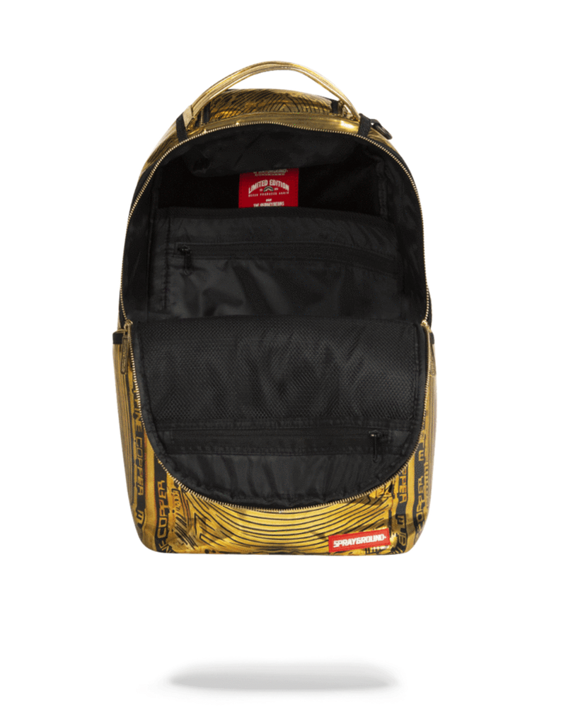 Sprayground Bitcoin Bag Gold Opened