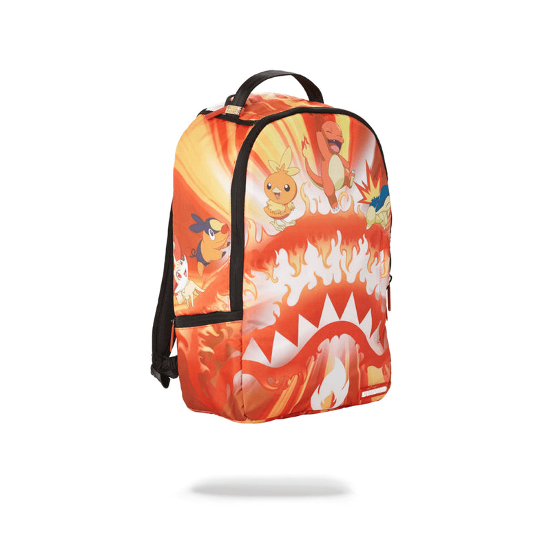 Sprayground Pokemon Fire Shark Backpack Orange Angled