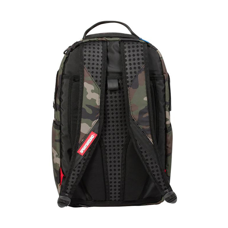 Sprayground Chenille Rainbow Shark Backpack Woodland Camo Back