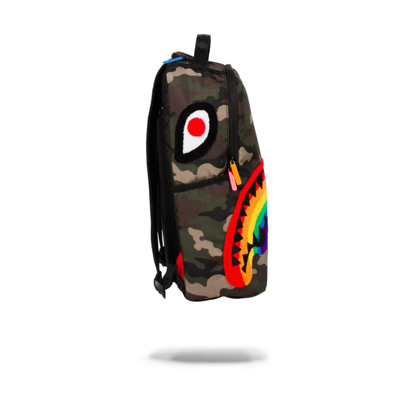 Sprayground Chenille Rainbow Shark Backpack Woodland Camo Side