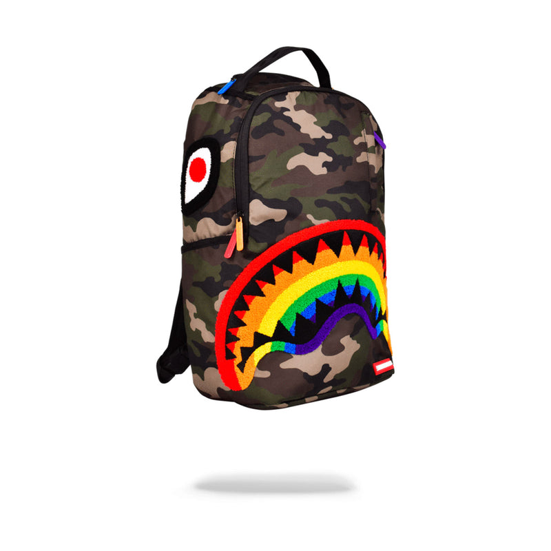 Sprayground Chenille Rainbow Shark Backpack Woodland Camo
