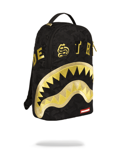 Sprayground Destroy Shark Gold Camo Right