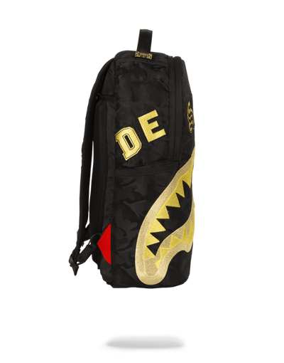 Sprayground Destroy Shark Gold Camo Side