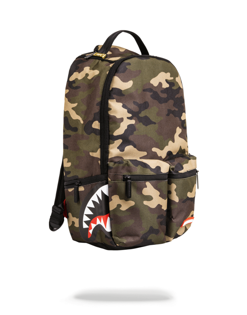 Sprayground Double Cargo Side Shark Backpack Woodland Camo