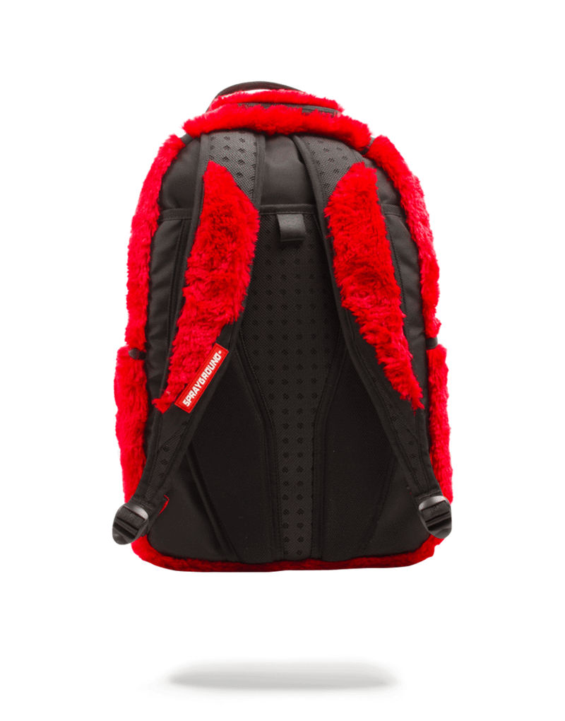 Sprayground Fur Monster Backpack Red Back