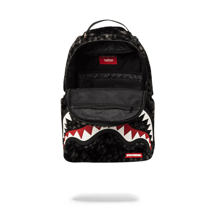 Sprayground Fur Rubber Shark Backpack Black Opened