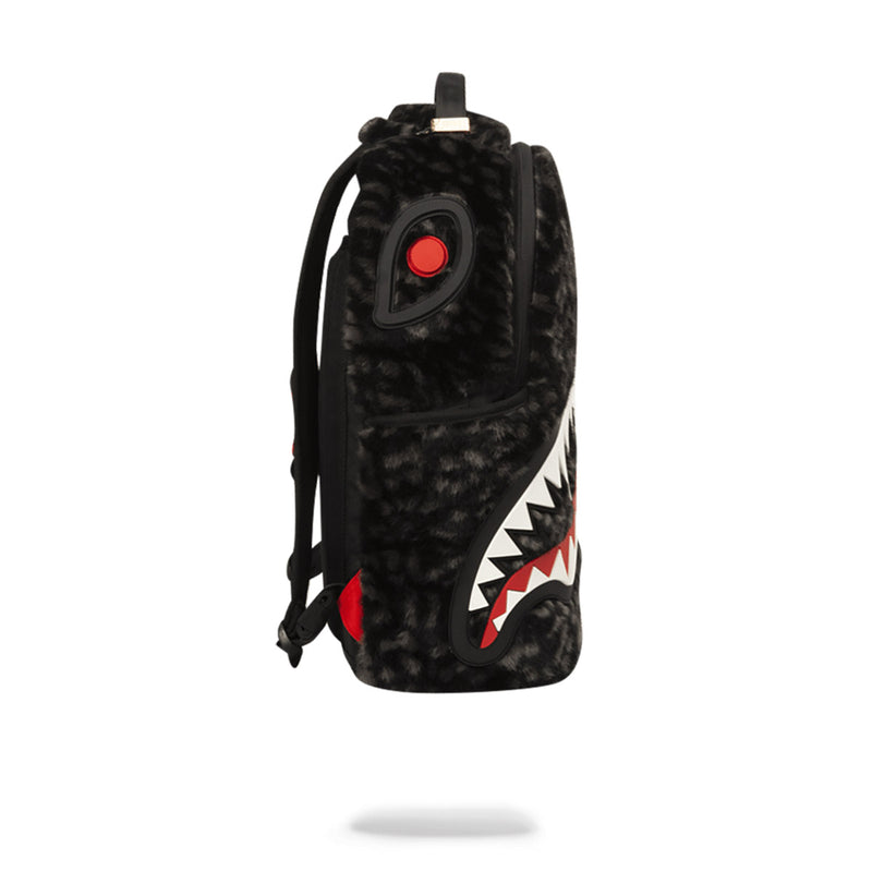 Sprayground Fur Rubber Shark Backpack Black Side
