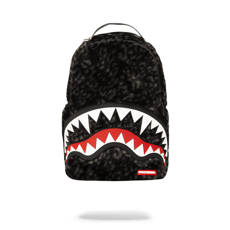 Sprayground Fur Rubber Shark Backpack Black Front