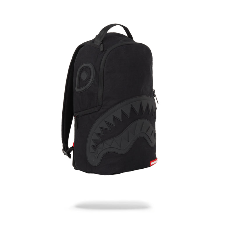 Sprayground Ghost Rubber Shark Backpack Black Angled