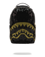 Sprayground Gold Sequin Shark Backpack Reversed