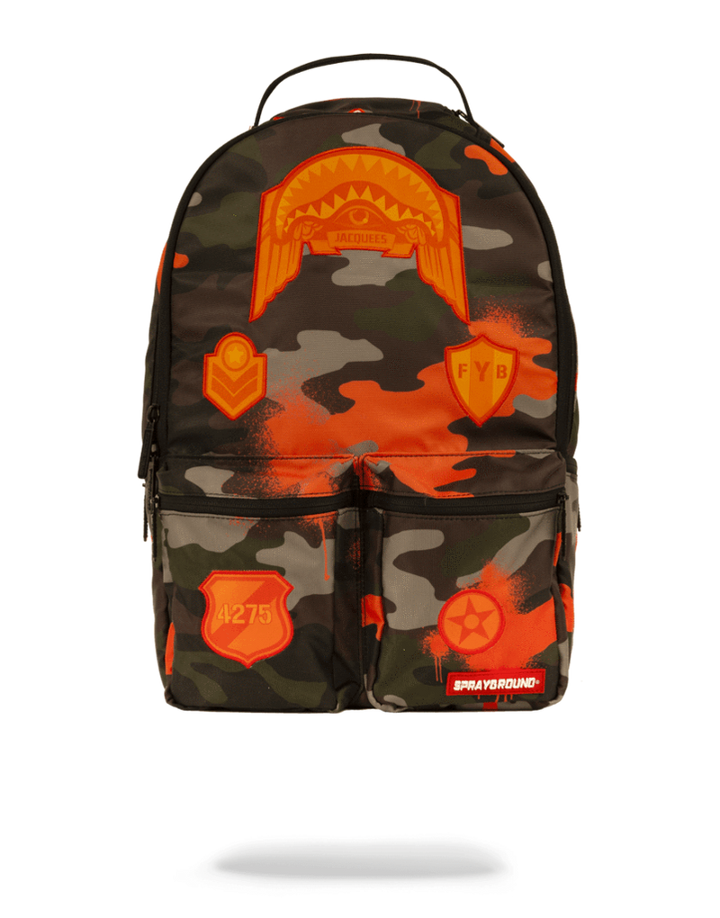 Sprayground Jacquees Army Cargo Backpack Camo Front