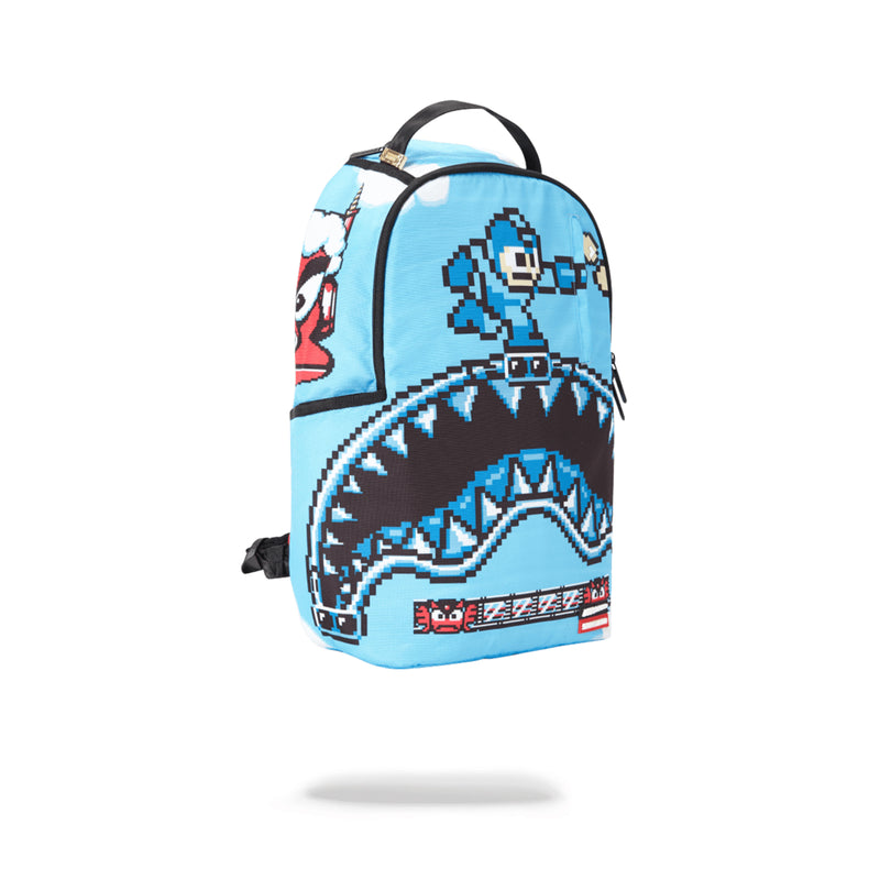 Sprayground Mega Man Destroyer Shark Backpack Blue Angled
