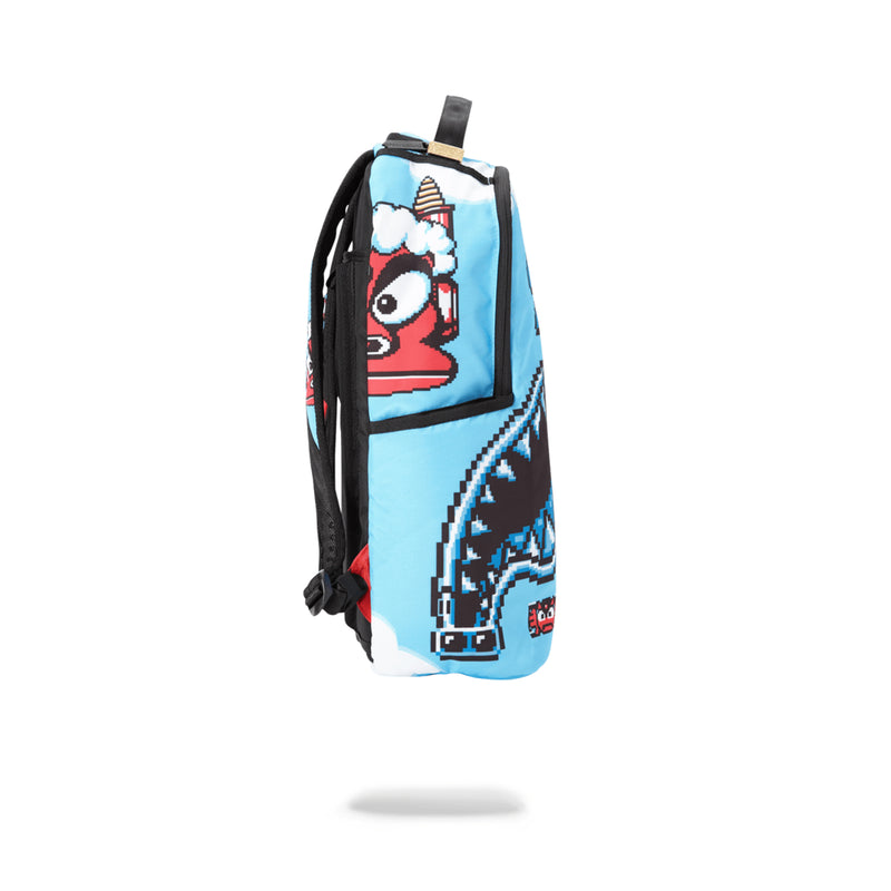 Sprayground Mega Man Destroyer Shark Backpack Blue Side