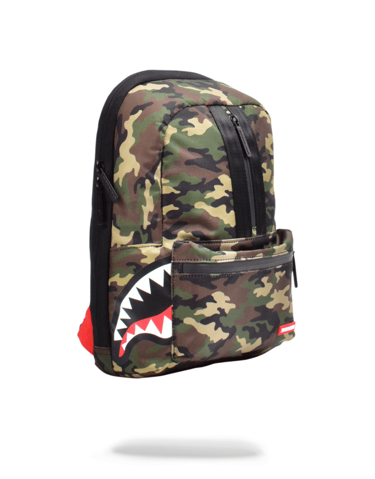 Sprayground One Strap Side Shark Bag Woodland Camo