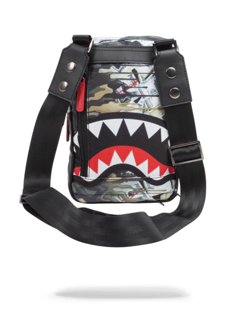Sprayground Psycho Shark Sling Bag Woodland Camo Back