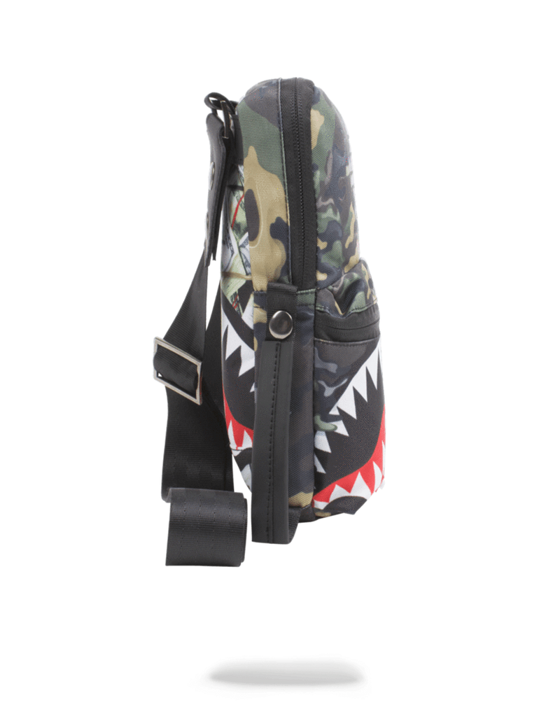 Sprayground Psycho Shark Sling Bag Woodland Camo Side