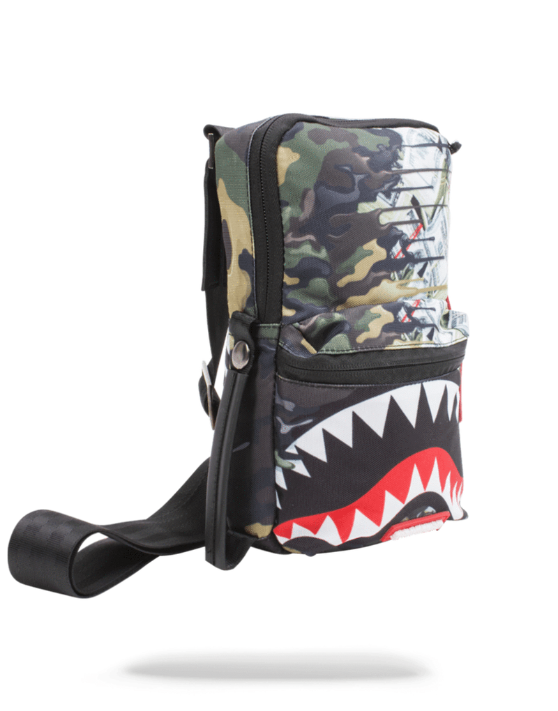 Sprayground Psycho Shark Sling Bag Woodland Camo