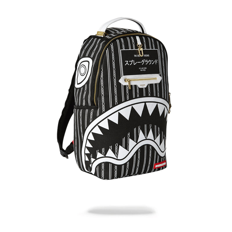 Sprayground Reverse Sharks In Paris Backpack Black Angled
