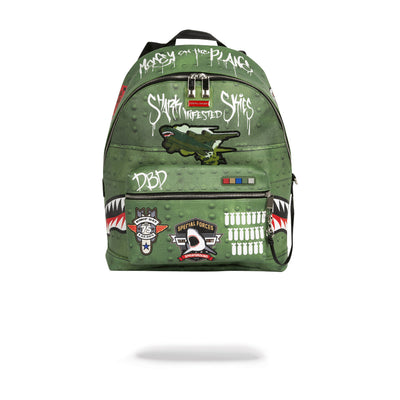 Sprayground Shark Infested Skies Olive Front