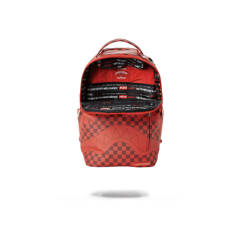Sprayground Sharks In Paris Backpack Checkered Red Opened