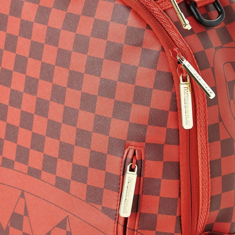 Sprayground Sharks In Paris Backpack Checkered Red Close Up