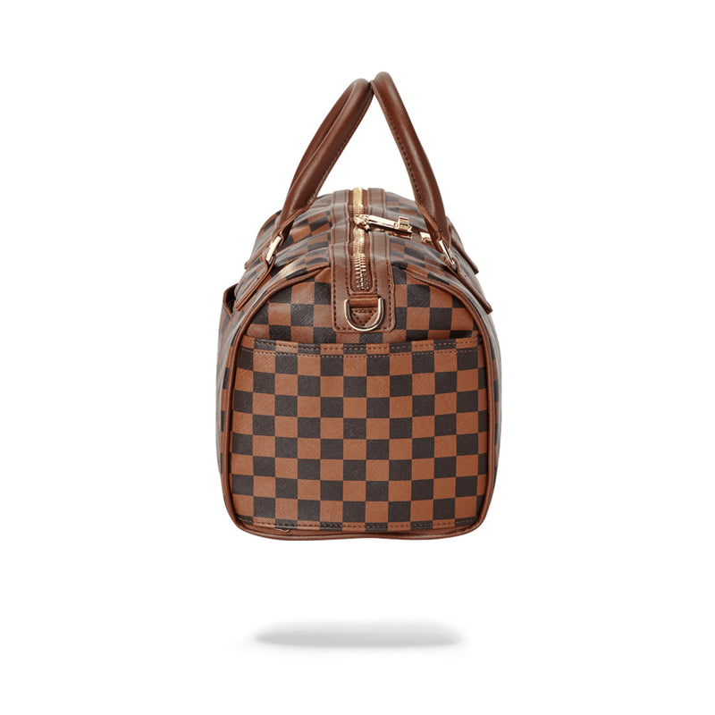 Sprayground Side Sharks In Paris Mini Duffle Bag Brown Side