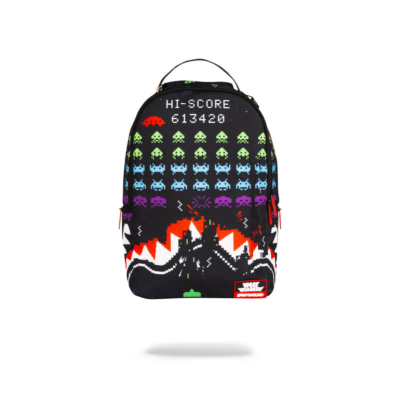 Sprayground Space Invaders Shark Backpack Black Front